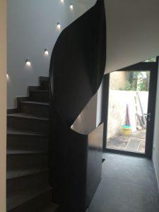 Habillage en tôle d'un escalier